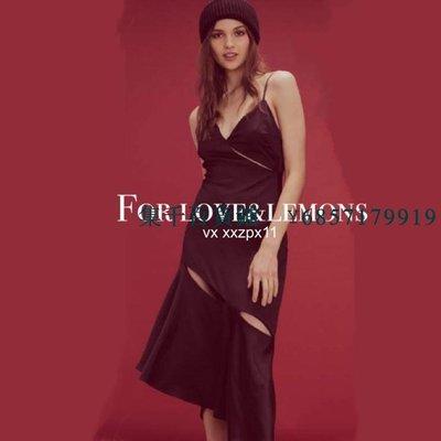 【集千】*618* for love&lemons v領吊帶開叉不規則裙擺 連衣裙 長裙