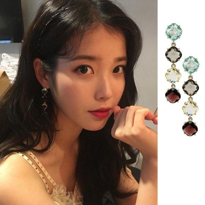 預購-韓劇同款德魯納酒店IU同款耳環高級感耳釘2019新款潮個性網紅小眾法式水晶