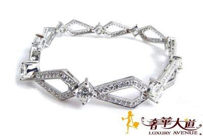 *奢華大道國際精品*【J0358】HEARTS ON FIRE  750K鑽石手鍊