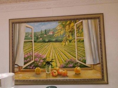 油畫 窗外黄金地 畫工精細  紅牡丹精品