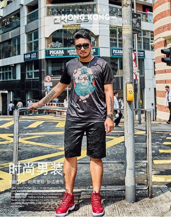 【奈司酷比】大尺碼新款春夏大碼潮流搶眼印花純棉寬鬆休閒圓領男生短袖T恤(黑色)-Bith-204 2XL-7XL