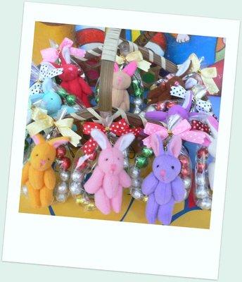 彩色兔+12顆巧克力環~另有3款熊任選~結婚禮小物二次進場聖誕節禮物送客禮品贈品園遊會周年慶生日分享禮來店禮迎賓禮開幕禮