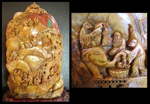 老件大型壽山石(41x22x83cm高-)十八羅漢~