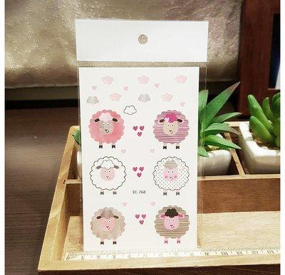 【萌古屋】可愛粉色綿羊 - 兒童生日Party卡通防水紋身貼紙刺青貼紙EC-768 K12