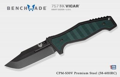 【angel 精品館 】美國 Benchmade Sibert Vicar 鈦鎖定黑平刃折刀 757BK