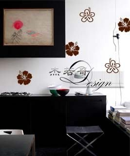 杰若奇設計A285單朵扶桑花壁貼-窗牆貼紙壁紙 玻璃鏡子 櫥窗貼紙 筆電 行李箱 冰箱家電 廚具磁磚 家具櫥櫃 民宿套房