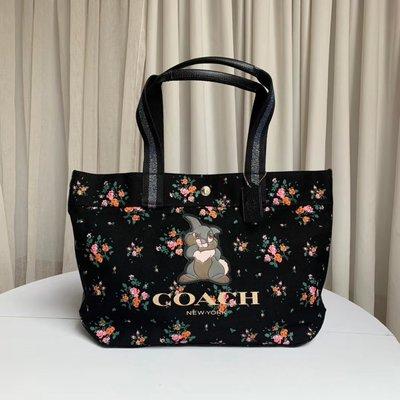 【小怡代購】 全新 COACH 91116 美國正品代購新款女士帆布托特包 Disney聯名款 購物袋 超低直購
