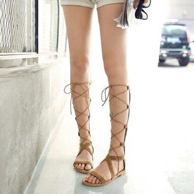 羅馬涼鞋 【大碼32-43】 后拉鏈女平底鞋高筒靴交叉綁帶涼靴繫帶歐美度假舒適平跟 -