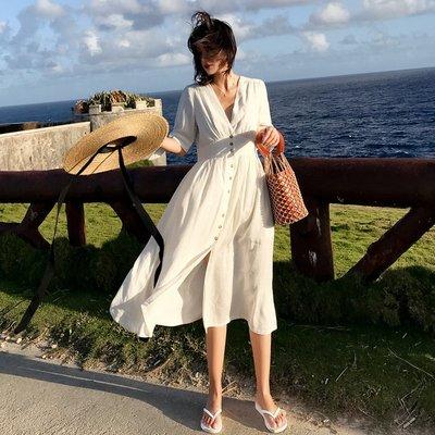 【Strawberry】海南三亞沙灘裙女復古單排扣顯瘦連衣裙夏泰國海邊度假裙子