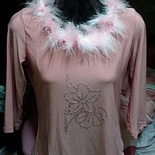 淺粉紅色毛毛領七分袖上衣