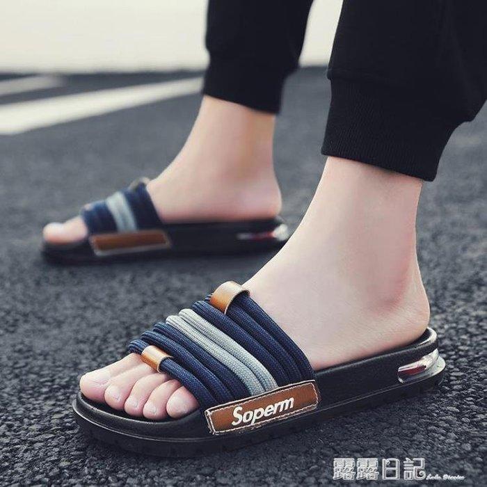 拖鞋男新款一字拖時尚外穿個性軟底氣墊室外 --獨品飾品吧