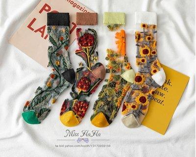 *Miss Ha Ha*Q035韓.法式抽象畫風刺繡花朵透膚襪(四款).預購200620