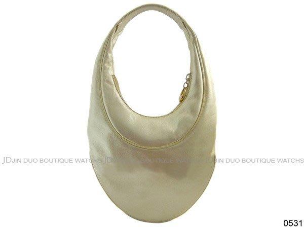 金鐸精品~0531 BVLGARI 寶格麗 特殊橢圓造型金色 手提包 肩背包