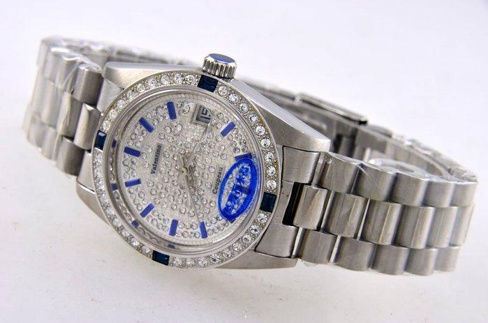 (六四三精品)Valentino coupeau全不銹鋼貝面盤.藍寶石水晶鏡面,自動上鍊機械錶!3.6.9.12藍晶鑽
