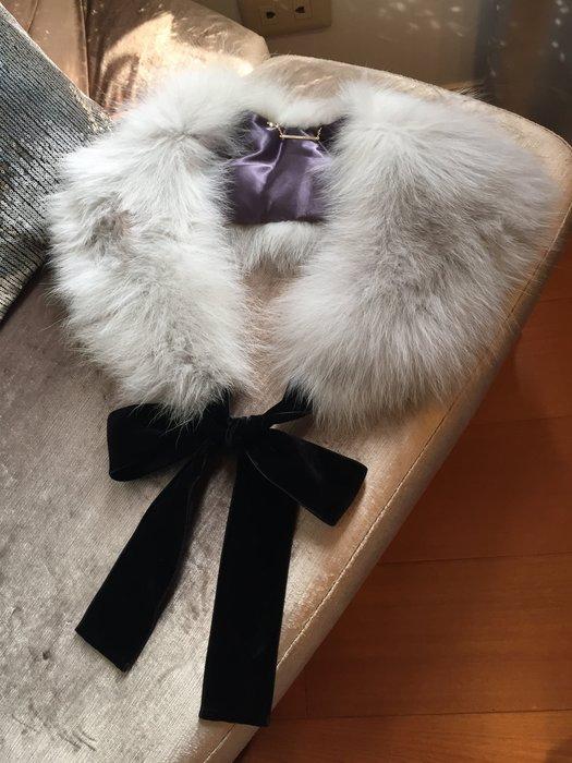 Snidel 日本購入 粉灰皮草超美黑絨綁帶 宴會大衣都可搭配 華麗