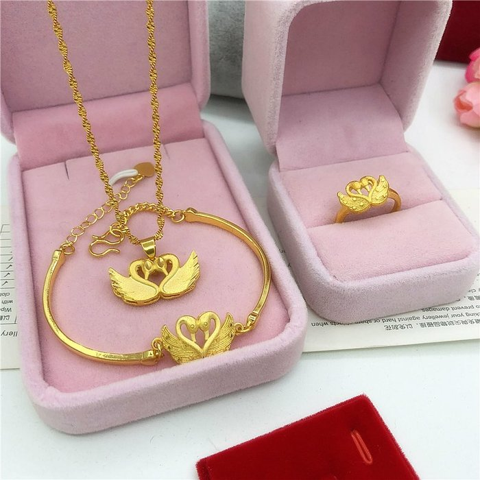半島鐵盒~新款仿越南沙金手鏈女 鍍金假黃金裝飾天鵝手鐲首飾久不掉色