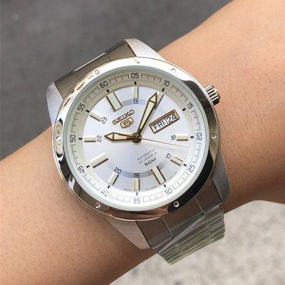 現貨 可自取 SEIKO SNKN11J1 精工錶 手錶 精工5號 機械錶 43mm 白面盤 日期視窗 鋼錶帶 男錶女錶