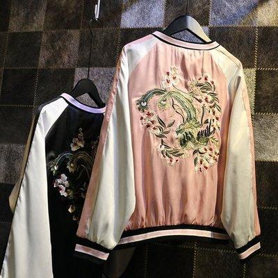 Qmi 古著橫須賀重工花朵刺繡原宿複古帥氣棒球服長袖外套