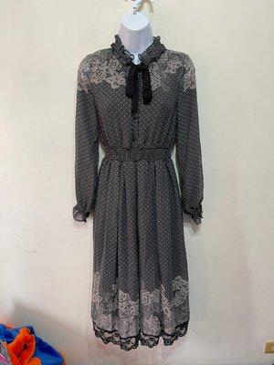 「 全新 」 axes femme 女版蕾絲長袖洋裝(深灰)25