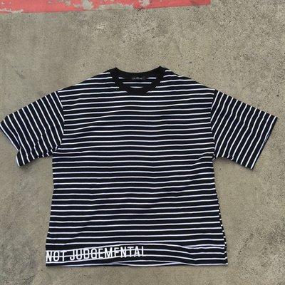 【inSAne】韓國購入 / 條紋 / 刺繡 / 短TEE / 單一尺寸
