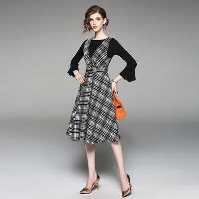 連身 裙 喇叭袖 洋裝 (兩件套)-一字領上衣格紋背帶女連衣裙73of158[獨家進口][米蘭精品]