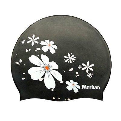 ☆小薇的店☆MARIUM品牌印花圖騰矽膠帽泳帽特價260元NO.MAR-1607(黑)