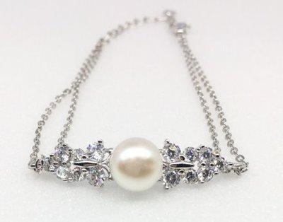 ☆╮Darling Baby ☆香港代購 正生銀飾~蝴蝶珍珠手鏈