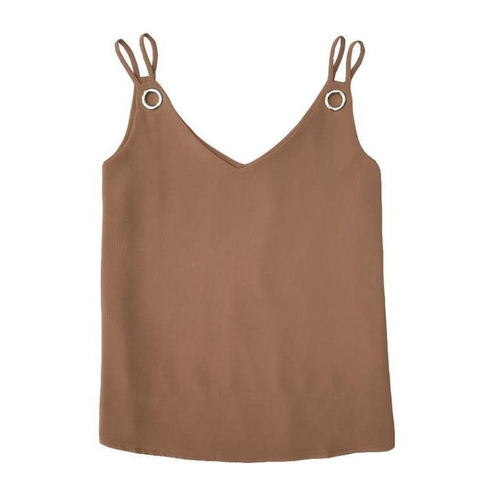 夏季V領雙肩帶雪紡背心吊帶女短款寬鬆大碼外穿無袖打底衫t恤上衣