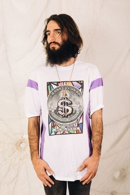 Cross Colours - STAINED GLASS $ STRIPED 白色 拼接短Tee 經典HipHop品牌