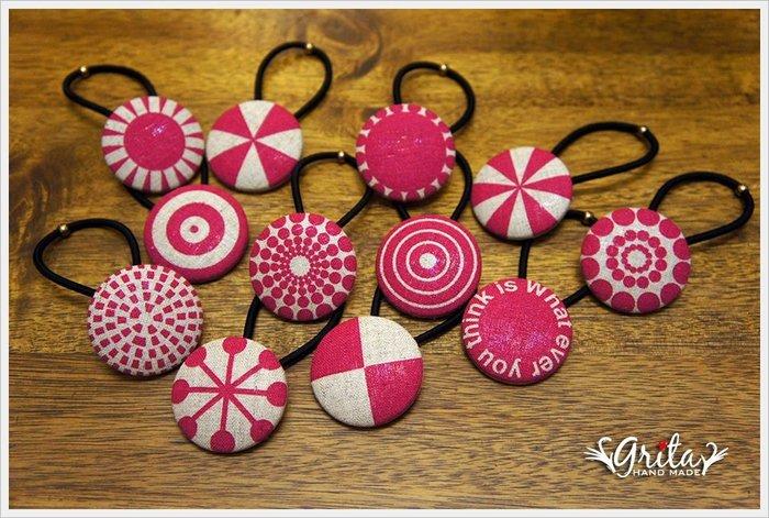 ♥grita's handmade♥布釦髮束╱髮帶╱髮飾╱優雅╱大人小孩都適合—桃紅花紋(現貨商品12款花色)