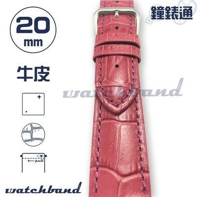 【鐘錶通】C1-33AR《簡約系列》大花鱷魚紋-20mm 玫瑰紅 (手拉錶耳) /手錶錶帶/大花鱷魚紋/牛皮錶帶/