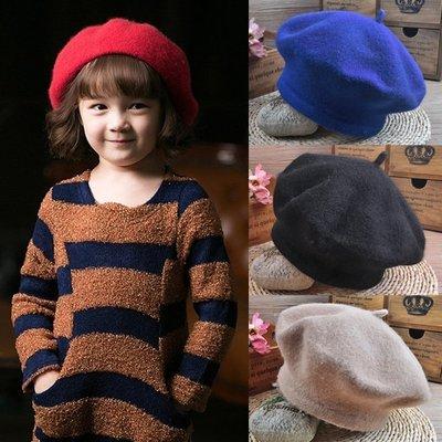 【小阿霏】兒童貝雷帽 寶寶畫家帽 韓版羊毛氈羊絨秋冬保暖女童女孩造型時尚帽 多色AC07
