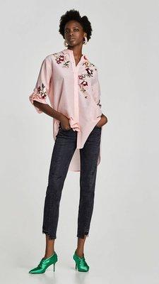 Zara 全新專櫃正品 刺繡 真絲 長版 襯衫長袖洋裝 iroo ESPRIT miu