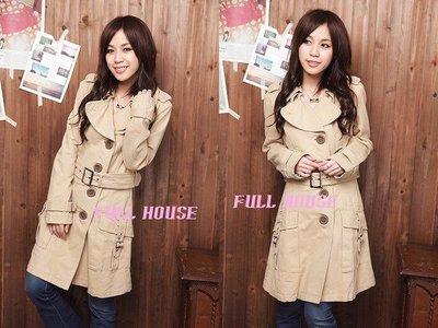 【FULL HOUSE 】人氣品牌Juicy Girl 有型保暖長大衣 卡其/黑色/墨綠 現貨