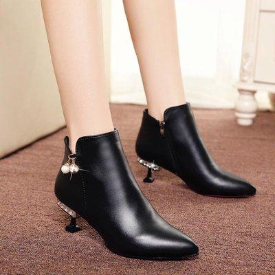 歐美夏 季新款水鑽絨面尖頭英倫風磨砂馬丁靴百搭細跟中跟短靴女
