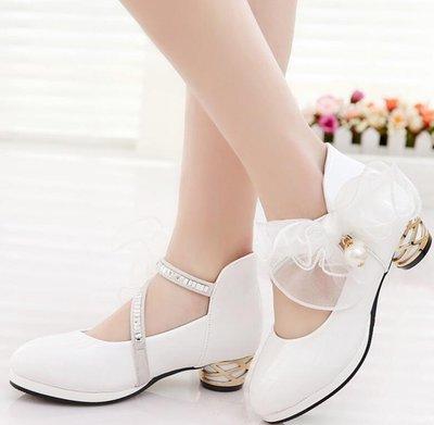 女童皮鞋 公主鞋 兒童演出鞋子 高跟鞋 花童禮服鞋 婚紗小女孩學生鋼琴表演鞋—莎芭