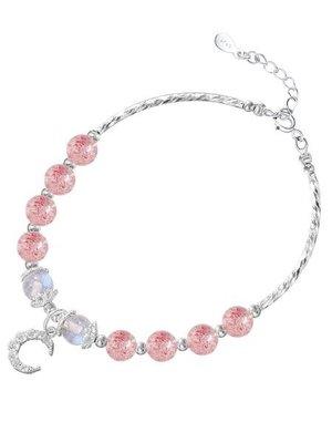 閨蜜禮物桃花運草莓水晶月光星星月亮吊墜S925純銀手鏈女 可開發票免運(屬一屬二)