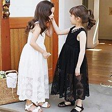 [C.M.平價精品館]110~160CM/ 歐洲款蕾絲面料柔軟網紗長裙無袖洋裝 大童/小童
