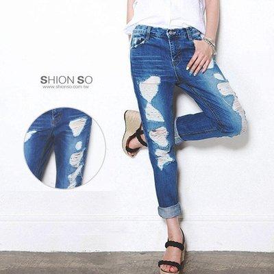 享瘦衣身中大尺碼-潮派街頭風-【B2334】極度刷破窄管牛仔褲