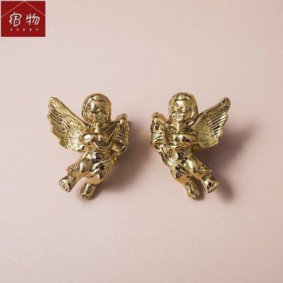 宿物showy黃銅法式小天使拉手抽屜衣柜門櫥柜鈦金色復古小把手果味