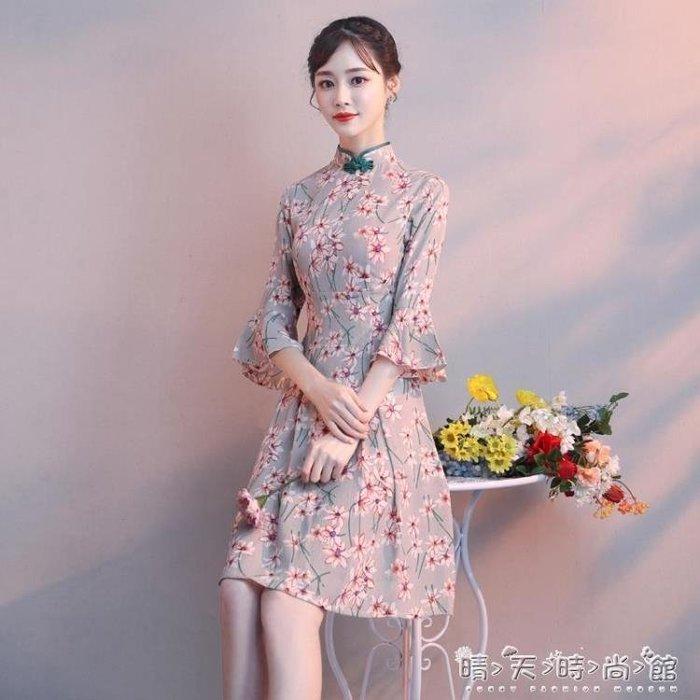 少女旗袍2018新款女改良版短款現代中國風年輕時尚低領連身裙