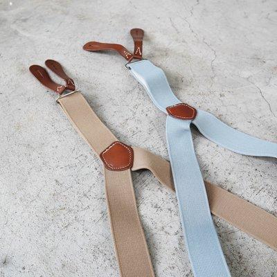 【 WEARCOME 】BRITISH ARMY LEATHER SUSPENDERS 英軍復刻吊帶 吊帶扣/棕色、灰藍