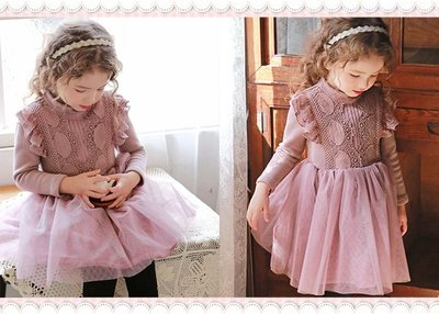 。~ 寶貝可愛 ~。韓國精選Flo恬靜優雅,Yesika蕾絲紗裙洋裝。2019秋冬現貨出清優惠