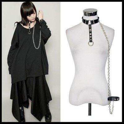 *MINI PUNK LOLO*日本龐克視覺-闇教使徒皮革扣帶龐克頸圈+龐克手環二件式組(牛皮.中性.sd41082)