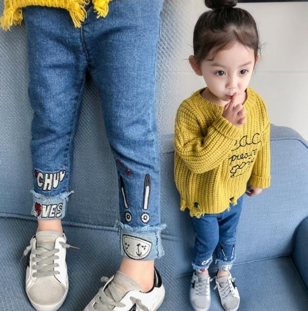牛仔褲 新款女童裝牛仔褲 嬰兒童休閑長褲女寶寶褲子1-2-3歲4—莎芭