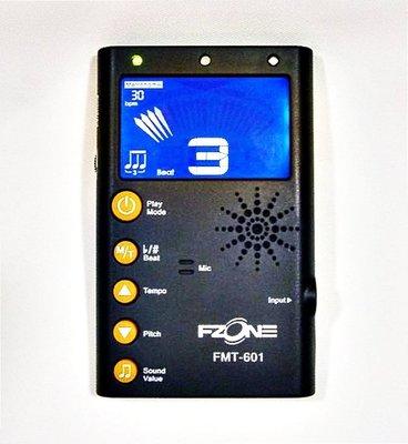 【河堤樂器】全新 黑色 FZONE FMT-601 節拍器+調音器 二合一 (附贈調音夾)