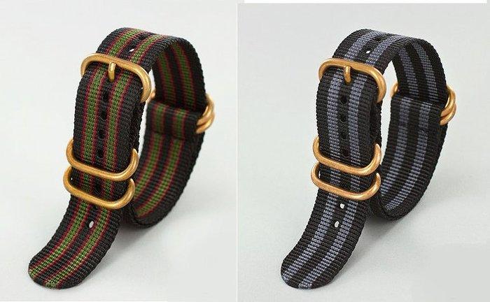 ZULU STRAP 5-RING STRAP。加厚尼龍軍用錶帶。銅環錶扣。北約NATO。20mm、22mm、24mm、26mm