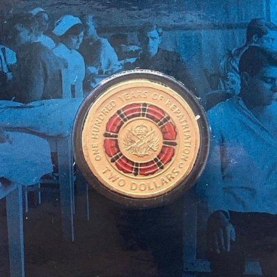 澳洲紀念幣 2019年澳大利亞遣返一百週年 C 廠標印記卡幣 / $2 2元 皇家鑄幣廠 限量 紀念幣彩色硬幣 錢幣 特殊幣