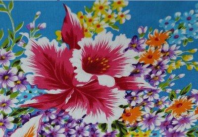 杜鵑花 (藍色) 純棉花布 三尺寬 客家花布/印花布/被單布/拼布/新遠東染紡