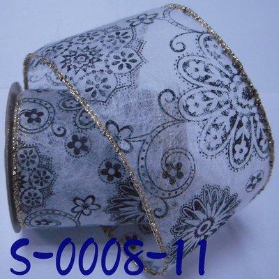 花樣圖案拷克帶【S-0008-11】~Jane′s Gift~Ribbon 二邊鐵絲可塑形,節日佈置掛飾